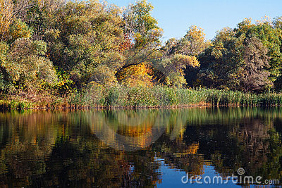 Autumn landscape with reflection in the water