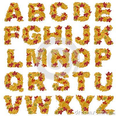 Autumn leaves alphabet