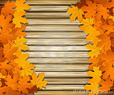 Autumn leaves on the background of a wooden wall