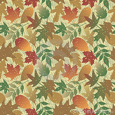 Autumn Leaves Grunge Pattern