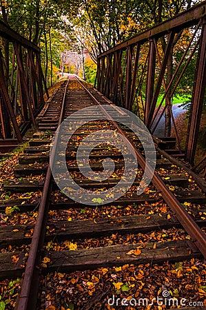 Autumn leaves on a railroad bridge in York County, Pennsylvania.