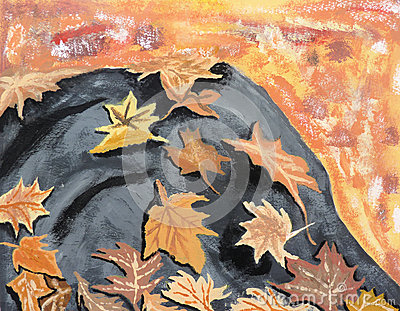 Autumn Leaves on Rock