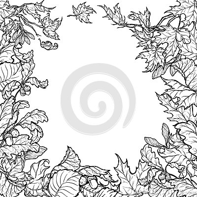 Free Autumn Leaves Square Frame. Black And White Sketch Royalty Free Stock Image - 76773586