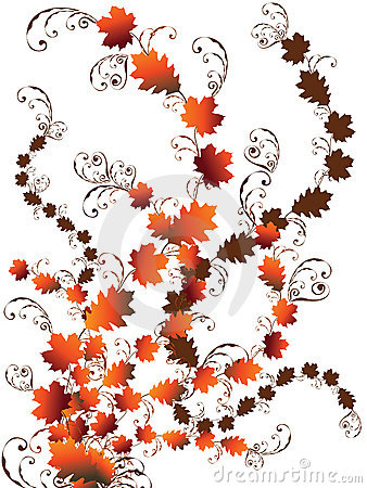 Autumn leaves swirls