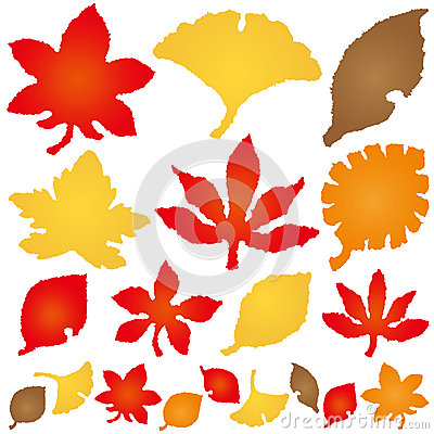 Autumn leaves. torn paper icons.