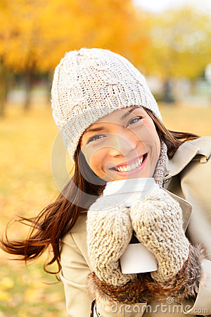 Autumn lifestyle woman drinking coffee