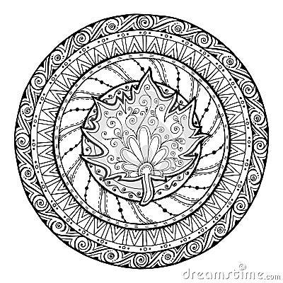 Free Autumn Mandala. Tribal Doodle With Maple Leaf. Stock Image - 62830611