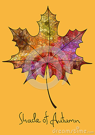 Free Autumn Maple Leaf Made Of Mosaic Stock Photography - 33529542