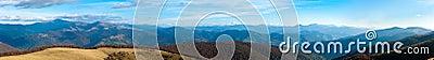 Autumn misty mountain panorama