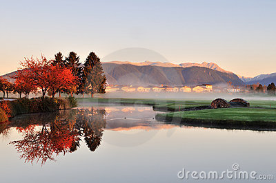 Autumn morning in golf course