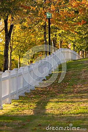 Autumn Morning white picket fence