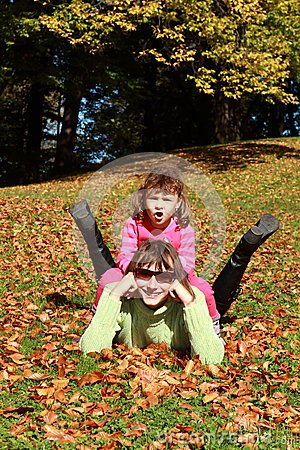 Autumn: mother and child fun