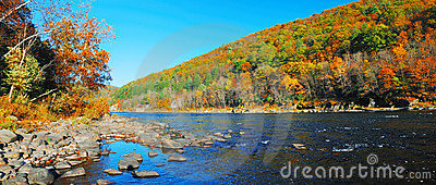 Autumn Mountain Delaware River Panorama