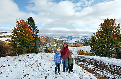 Autumn mountain and family on walk
