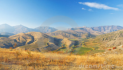 Autumn mountain landscape. beautiful vineyards