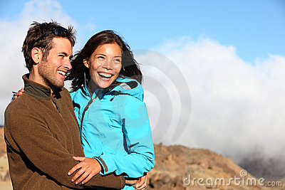 Autumn nature sport couple happy outdoors