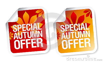 Autumn offer stickers.