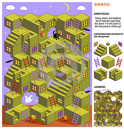 Free Autumn Or Halloween 3d Maze Game With Stairs And Ladders Stock Photo - 60723740