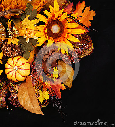 Free Autumn Or Thanksgiving Bouquet Over Black Background. Pumpkin Stock Photography - 44934292