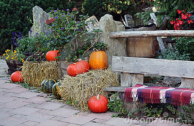 Autumn on the ornamental garden terrace