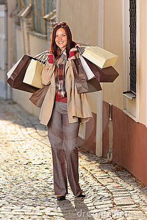 Autumn outfit shopping woman elegant with bags