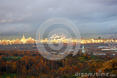 Autumn panorama of Moscow