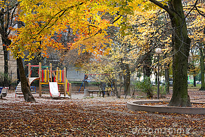 Autumn park and children s playground