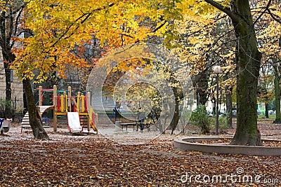 Autumn park and children s playground