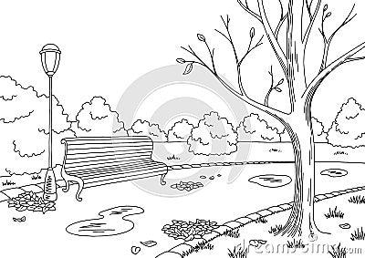 Autumn park graphic black white landscape sketch illustration Vector Illustration