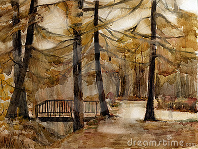Autumn park. Watercolor.