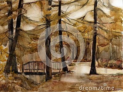 Autumn park. Watercolor.