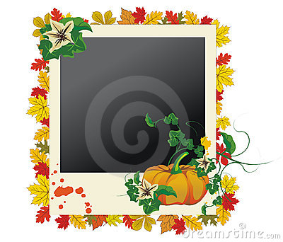 Autumn photo frame with leaves and pumpkin