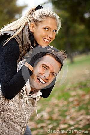 Free Autumn Portrait Of Beautiful Young Smiling Couple Stock Photos - 25428483
