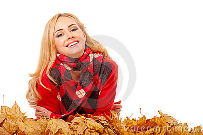 Autumn portrait of young woman
