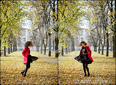 Autumn portret of happy beautiful girl