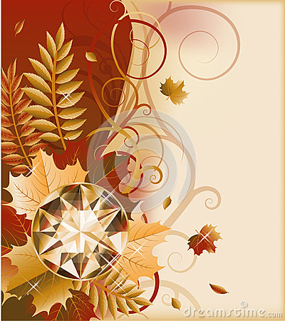Autumn postcard with precious gemstone
