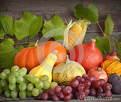 Autumn pumpkins on wooden boards