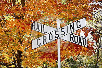Autumn Railroad Crossing Sign