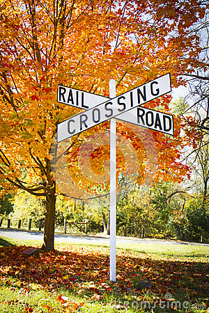 Free Autumn Railroad Crossing Sign Stock Images - 27310214