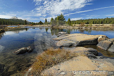 Autumn reflections at Tuolumne River in Yosemite