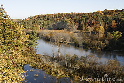 Autumn river and countryside