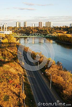 Free Autumn Riverside Scene In Edmonton Royalty Free Stock Image - 4744096