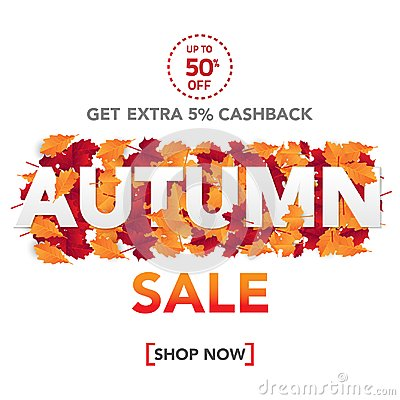 Free Autumn Sale Banner Template With Leaves, Fall Leaves For Shopping Sale. Banner Design. Poster, Card, Label, Web Banner. Vector Ill Royalty Free Stock Images - 123875649