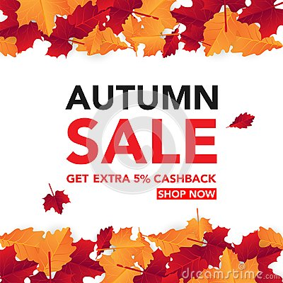 Free Autumn Sale Banner Template With Leaves, Fall Leaves For Shopping Sale. Banner Design. Poster, Card, Label, Web Banner. Vector Ill Stock Photo - 123876240