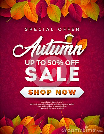 Free Autumn Sale Design With Falling Leaves And Lettering On Red Background. Autumnal Vector Illustration With Special Offer Royalty Free Stock Photos - 124667508