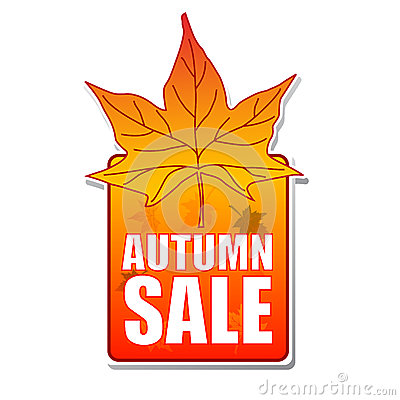 Autumn sale label with leaf