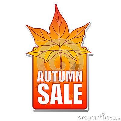 Autumn sale label with leaf