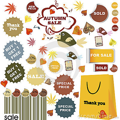 Autumn sale-set of stickers and labels