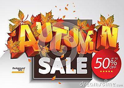 Autumn Sale Vector Illustration