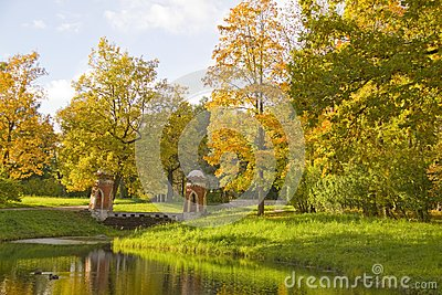 Autumn Scene in Park.Tzarskoye selo,Russi